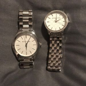 Two Women's Michael Kors Silver Watches
